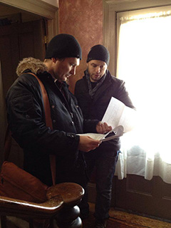 Travis Stevens and Ted Geoghegan on set.
