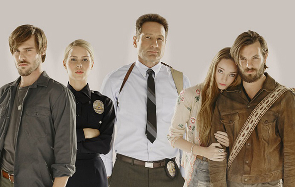 AQUARIUS: Grey Damon as Shafe, Claire Holt as Charmain, David Duchovny as Hodiak, Emma Dumont as Emma Gethin, Anthony as Manson