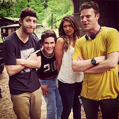 Todd and a few of his cast members between takes.