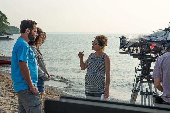 Jenny Slate, Nick Kroll and Sophie Goodhart on set.