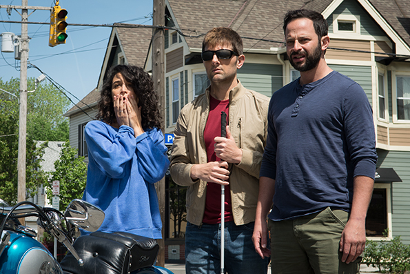 "Jenny Slate, Adam Scott and Nick Kroll in ""My Blind Brother."""