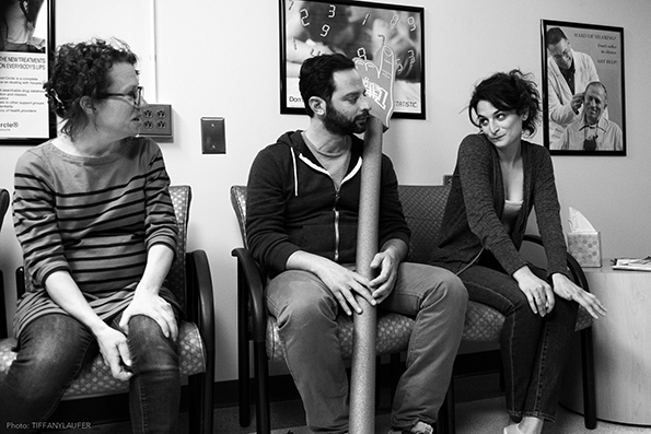 """Sophie Goodhart, Nick Kroll and Jenny Slate on the set of """"My Blind Brother."""""""